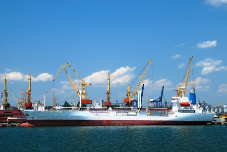 Port warehouse with containers and industrial cargoes Stock Photo - 7645808