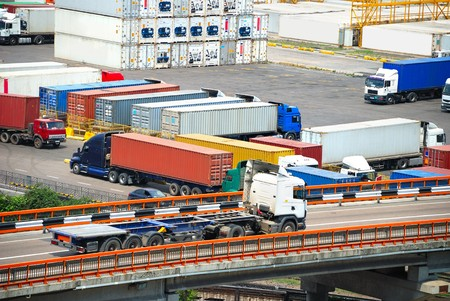 areas: Port warehouse with containers and industrial cargoes Stock Photo