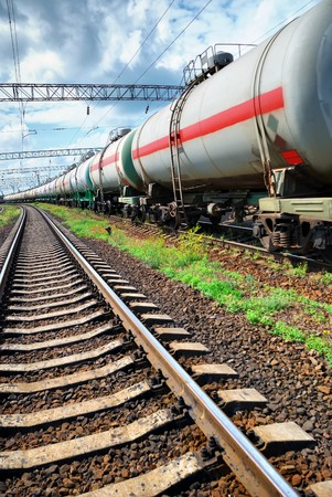 Set of tanks with oil transport by rail Stock Photo - 7763074