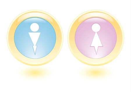 layman: icons with man and woman silhouette