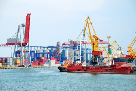 Port warehouse with containers and industrial cargoes Stock Photo - 7763302