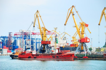 Port warehouse with containers and industrial cargoes Stock Photo - 7876830