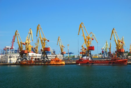 Port warehouse with containers and industrial cargoes Stock Photo - 7876829