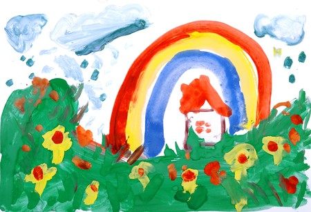 rain window: Drawing by hand a water colour. A meadow, flowers, house, rain, rainbow.