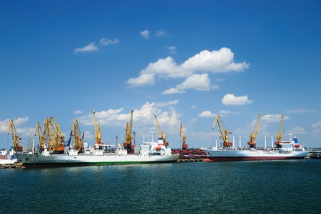 Port warehouse with containers and industrial cargoes Stock Photo - 7876907