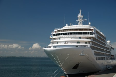 The passenger ship expects passengers in port photo