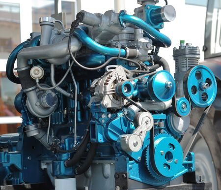 The big new engine on a show window photo