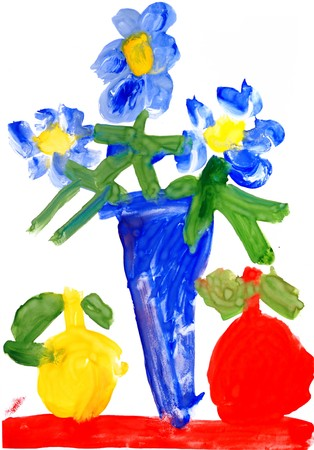 Childrens drawing watercolor paints. Still life with flowers. photo