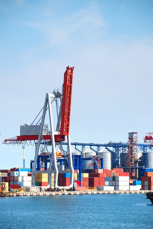Port warehouse with containers and industrial cargoes Stock Photo - 8063837