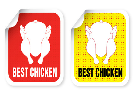 hot chick: Sticker with a roast chicken illustration