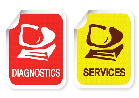 computer service: Illustration der Aufkleber mit einem text Illustration