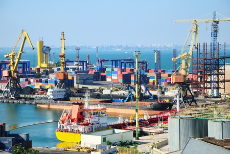 Port warehouse with containers and industrial cargoes Stock Photo - 8263398