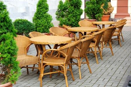 Interior of a summer open-air cafe