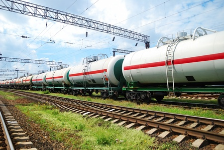 diesel train: Set of tanks with oil and fuel transport by rail