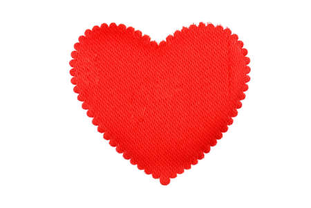Red heart from a fabric isolated photo