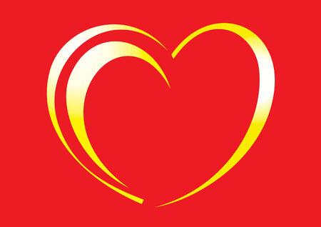 illustration of golden hearts on a red background Иллюстрация