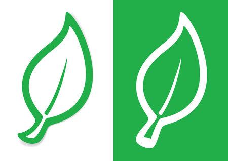 Green leaf of a plant silhouette Иллюстрация