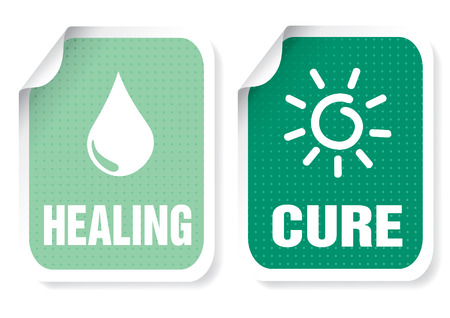 Illustration of sticker with a text: healing, cure