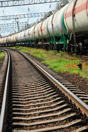 Set of tanks with oil and fuel transport by rail Stock Photo - 9241070
