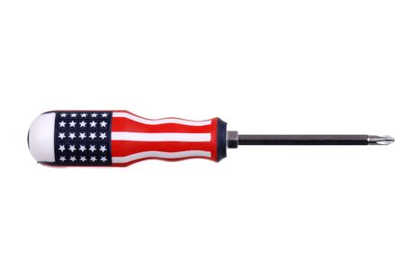 cruciform screwdriver with the american flag isolated on white photo