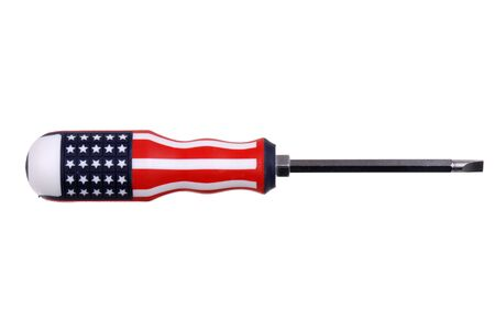 flathead screwdriver with the american flag isolated on white photo