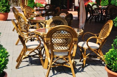 Interior of a summer open-air cafe photo