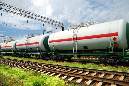 transportation tank cars with oil photo