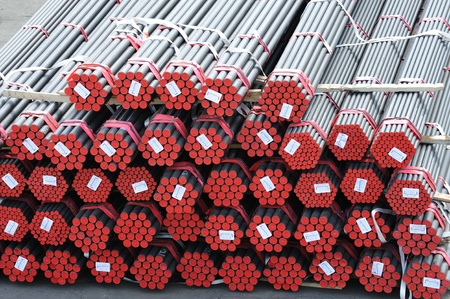 Steel Pipe: a lot of new pipes as background