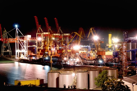 cargo port at night