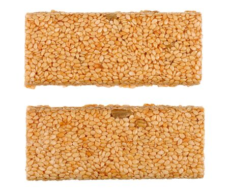 Honey bars with sesame seeds isolated photo