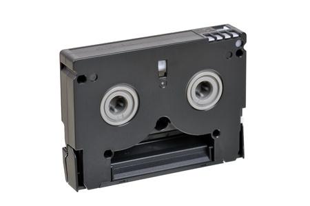 videocassette: Mini DV cassette isolated on white. back side
