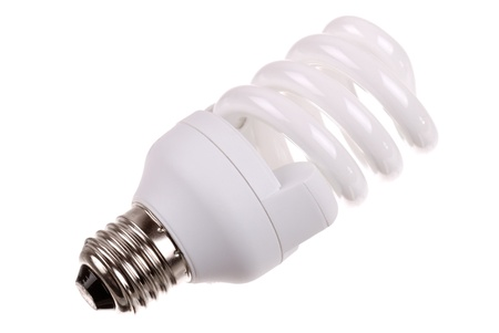 fluorescent: energy saving bulb on white background Stock Photo