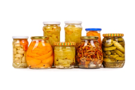set of canned vegetables. cucumbers, peppers and mushrooms