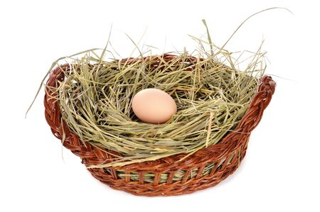 Egg in a basket on white photo
