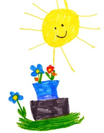 Kind Zeichnung auf Papier. isoliert