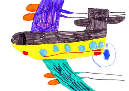 airplane. child's drawing on paper. isolated Stock Photo - 12333134