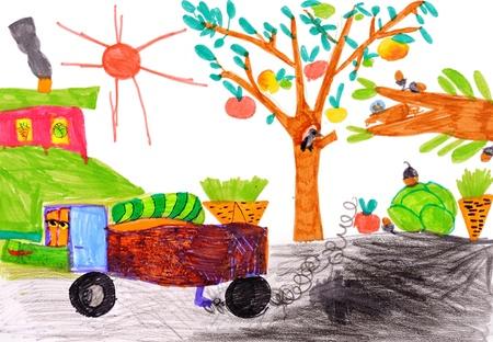 Kind Zeichnung auf Papier. isoliert Standard-Bild