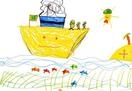 niños dibujando: dibujo para niños. buque, los peces y el mar