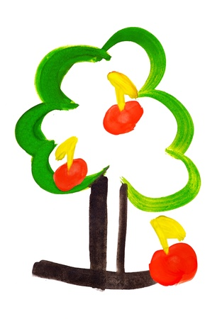tree with apples. isolated watercolor paint photo
