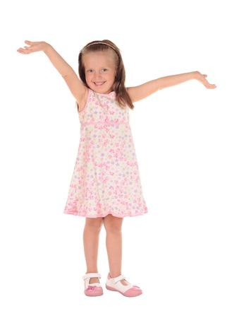 open arms little happy girl. studio shoot photo