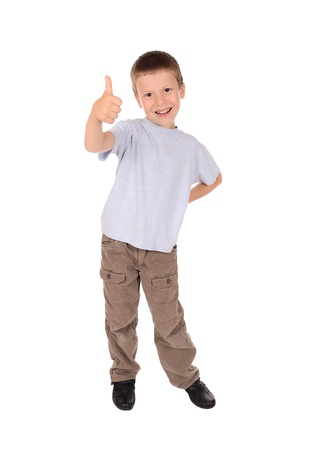 boy shows gesture okay. studio shoot photo
