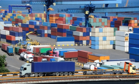 container port: truck transport container to a warehouse near the sea