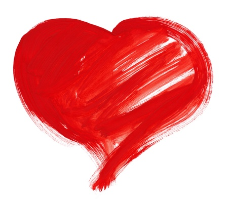 love image: red big heart shape. watercolor drawing