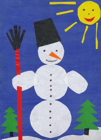 Snowman. Children paper cutout. photo
