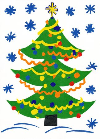 Christmas tree. Children paper cutout. Stock Photo - 15355028