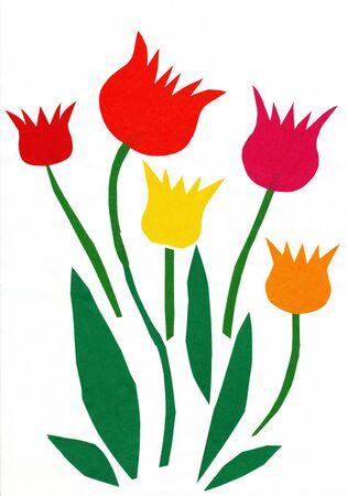 applique flower: Flowers. Children paper cutout. Stock Photo