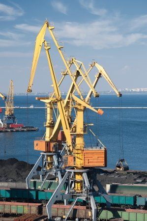 industrial port and cranes photo