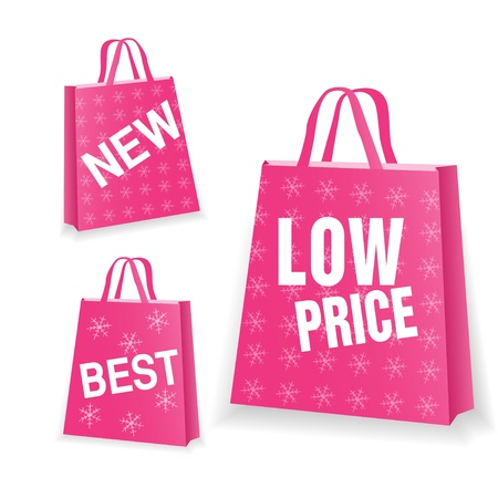 Pink sale shopping bag on white