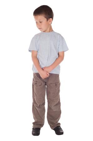 sad boy: sad boy revert the eyes. isolated on white Stock Photo