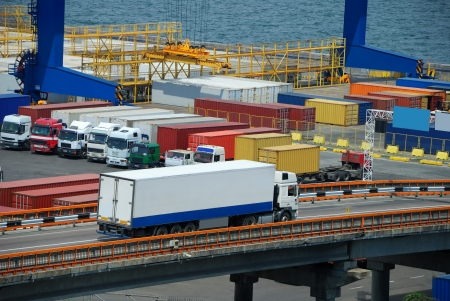 white truck transport container in port photo